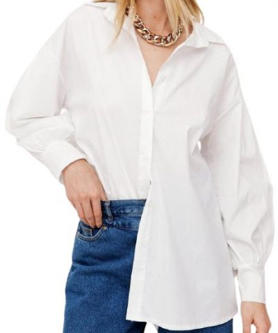 White Oversized Button Down Balloon Sleeve Shirt-Nasty Gal