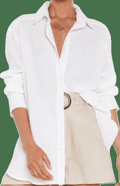 White Oversized Button-Down Shirt-Nasty Gal
