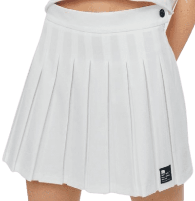 White Pleated Mini Skirt-Bershka