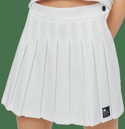 White Pleated Mini Skirt-Bershka