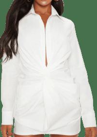 White Plunge Knot Detail Shirt Dress-Prettylittlething