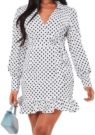 White Polka Dot Poplin Collar Tea Dress
