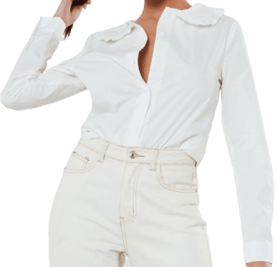 White Poplin Peter Pan Collar Shirt-Missguided