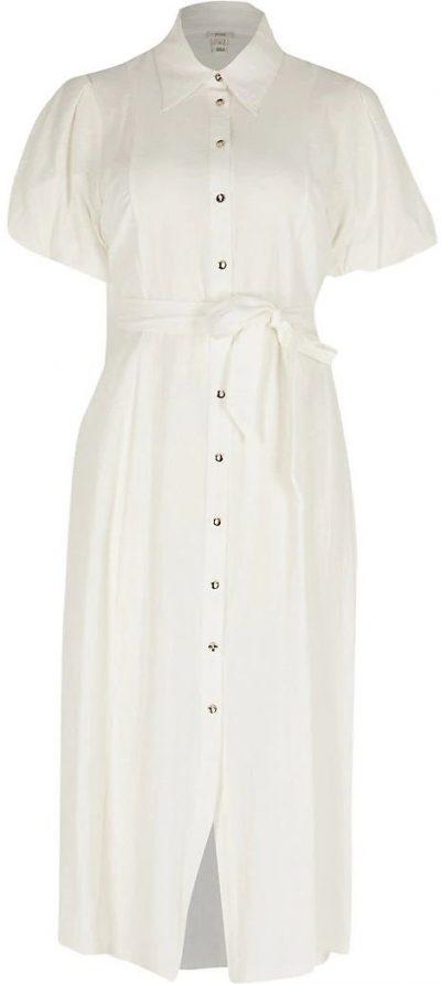 White Puff Sleeve Midi Shirt Dress-River Island