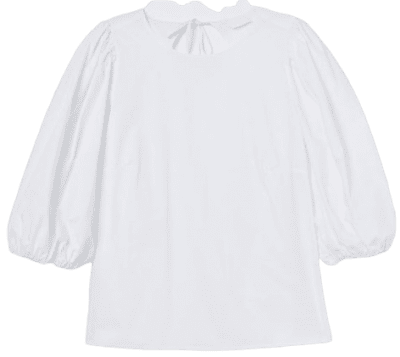 White Puff-Sleeved Blouse-H&M