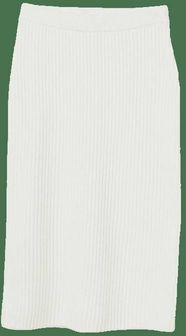 White Rib-Knit Skirt