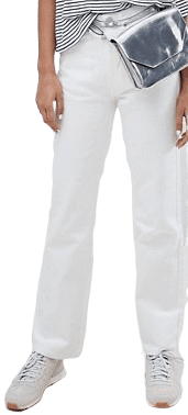 White Row Slim Straight Leg Jeans-Weekday