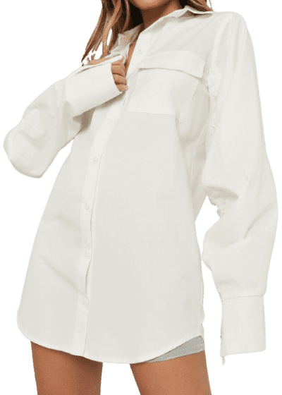 White Ruched Sleeve Shirt Dress-Missguided