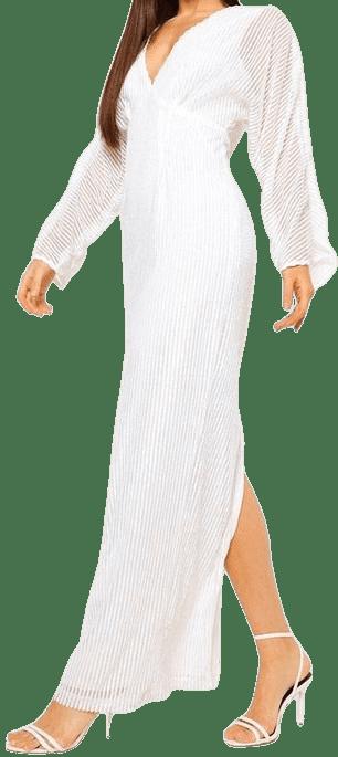 White Sequin Balloon Sleeve Midi Dress-Boohoo