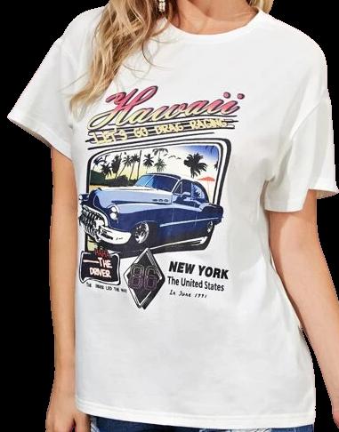 White Slogan and Car Print T-Shirt