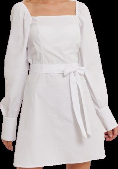 White Straight Puffy Sleeve Dress-NA-KD