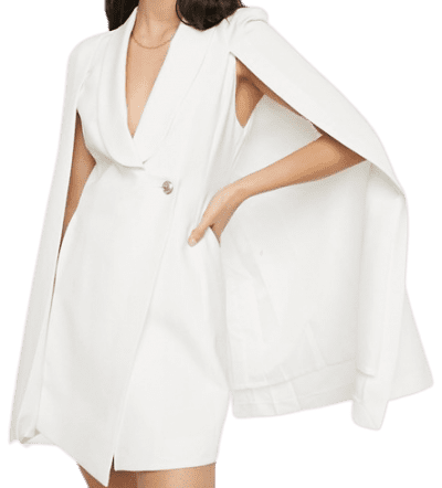 White Tailored Cape Dress