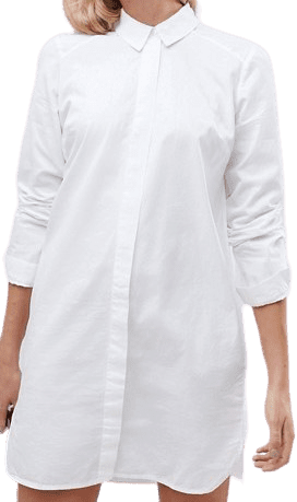 White Tall Cotton Mini Shirt Dress