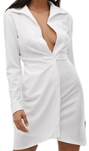 White Tall Sexy Droape Bodycon Shirt Dress