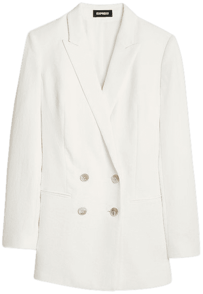 White Textured Double Breasted Boyfriend Blazer-Express