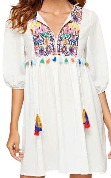 White Tie Neck Embroidered Tribal Smock Dress-Shein