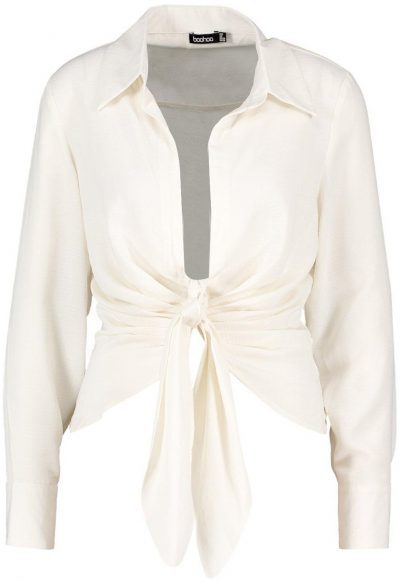 White Woven Tie Front Shirt-Boohoo