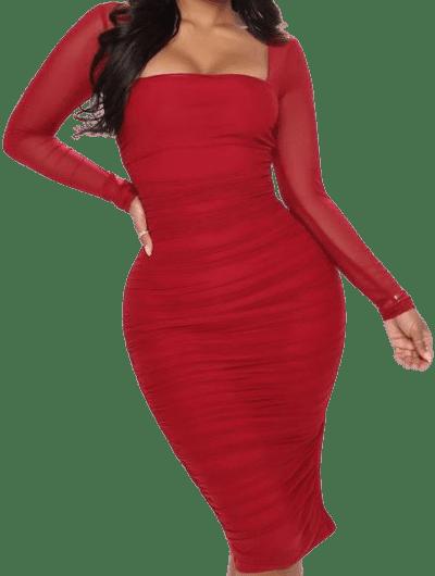 Wine Oh So Fresh Midi Dress-Fashion Nova