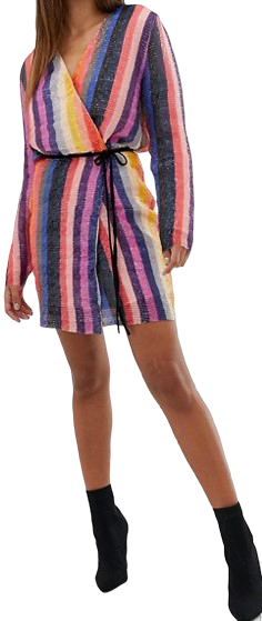 Wrap Striped Sequin Mini Dress-Club L