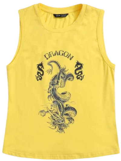 Yellow Dragon & Letter Graphic Tank Top