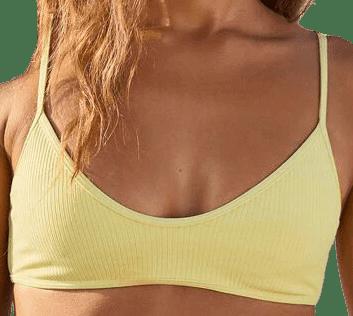Yellow Madi Binded Ribbed Bikini Top