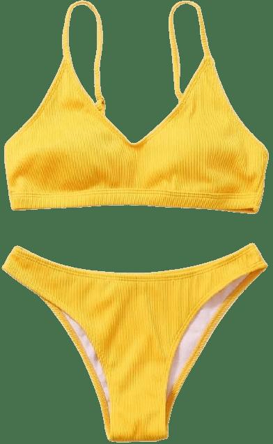 Yellow Plain Rib Bikini-Shein