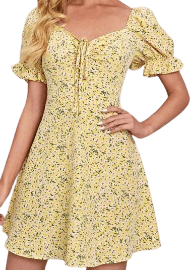 Yellow Ruched Front Puff Sleeve Ditsy Floral Dress-Shein