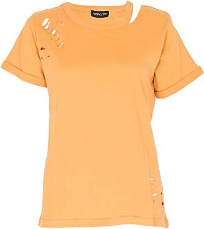 Yellow Short Sleeve Ripped T-Shirt