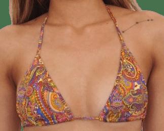 Yellow Summer Paisley Bikini Top