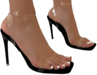 Acadia Black Faux Suedette Clear Stiletto Heels-Simmi