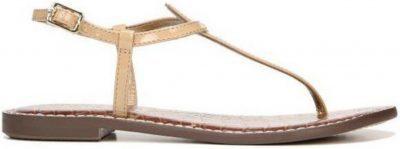 Almond Patent Gigi T-Strap Flat Sandals