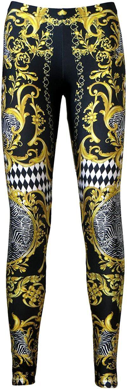 Baroque Print Leggings-Insanity Clothing