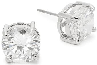 Basic Program Silvertone & Crystal Round Stud Earrings-Ava & Aiden