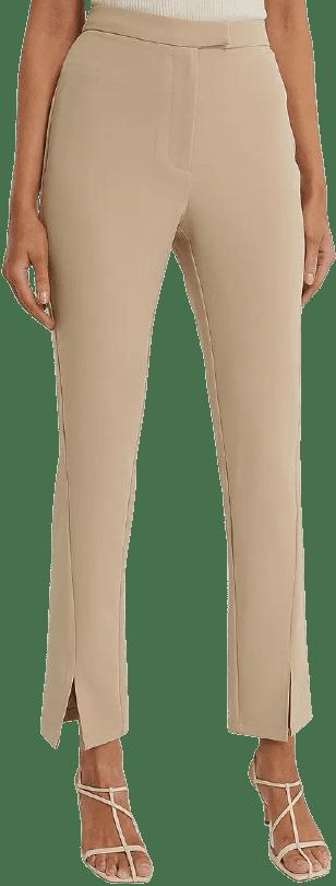 Beige Front Slit Suit Pants-NA-KD
