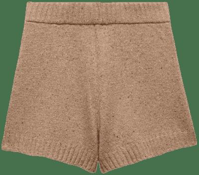 Beige Knit Wool Blend Shorts