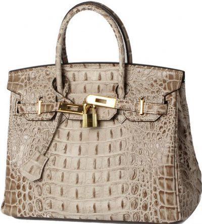 Beige Leather Crocodile Print Tote Bag