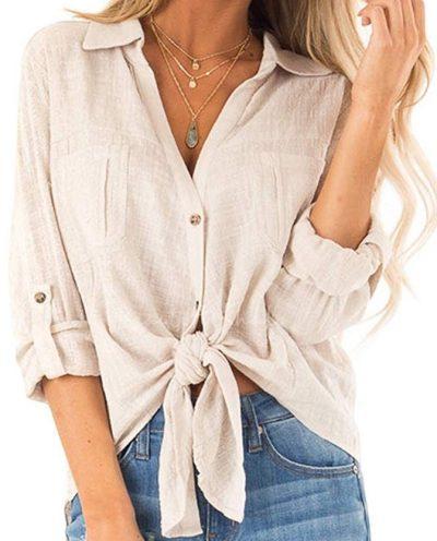 Beige Long-Sleeve Loose Shirt