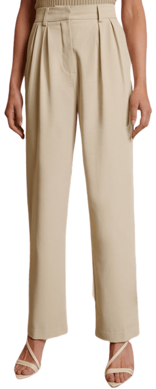 Beige Oversized Suit Pants