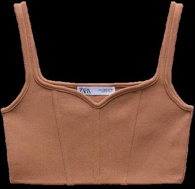 Beige-Pink Strappy Knit Top