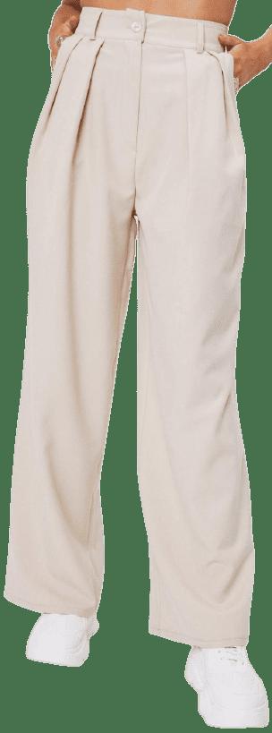 Beige Pleated Wide Leg Pants-Nasty Gal