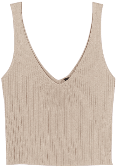 Beige Ribbed Camisole Top-H&M