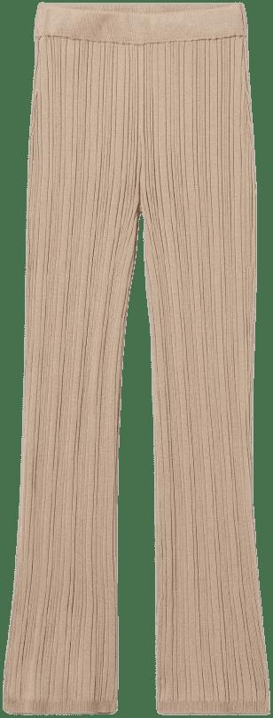 Beige Ribbed Pants-H&M