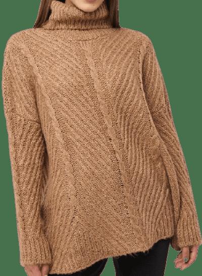 Beige Turtleneck Long Knitted Sweater