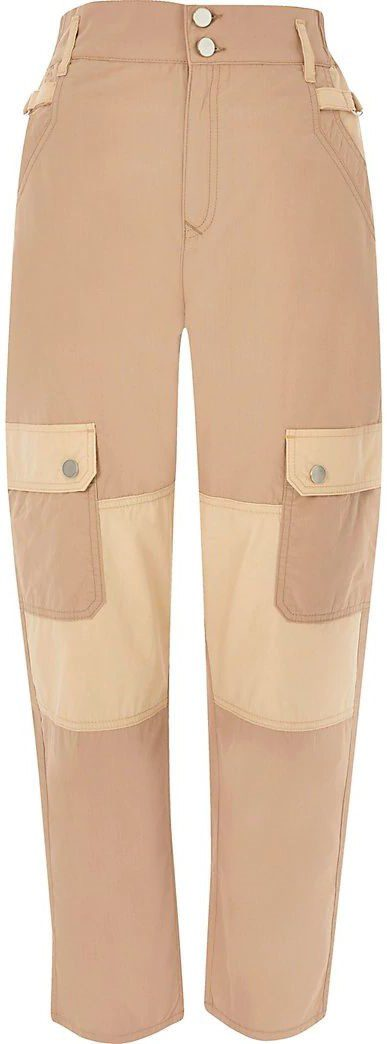 Beige Twill Cargo Trousers-River Island