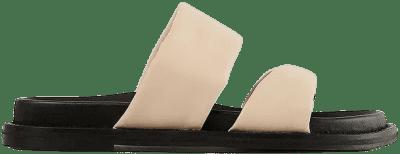 Beige Twisted Leather Slippers-NA-KD