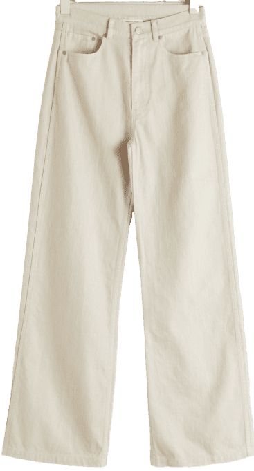 Beige Wide-Leg Woven Cotton Trousers