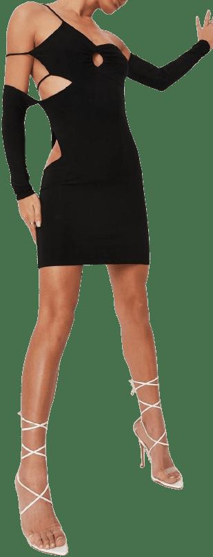 Black Asymmetric Slinky Cut Out Mini Dress-Missguided