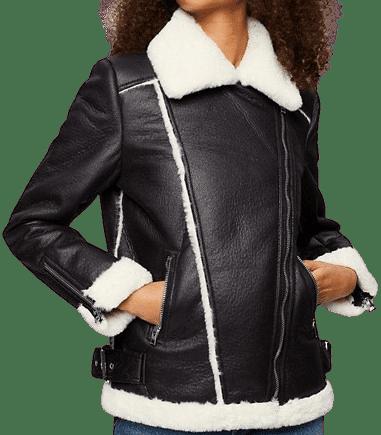 Black Aviator Jacket With Contrast Faux Fur-Miss Selfridge
