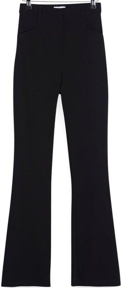 Black Bengaline High Waist Flare Trousers-Topshop