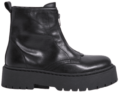 Black Benny Zip Front Leather Boot-Urban Outfitters